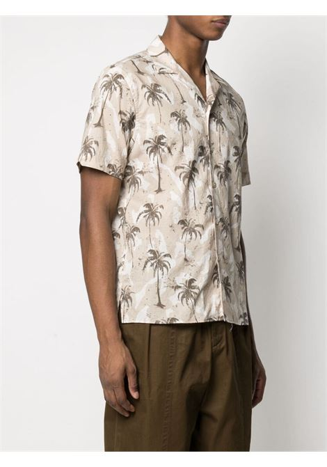 Beige and white cotton palm tree-print shirt  ELEVENTY |  | C75CAMC07-TES0C03702