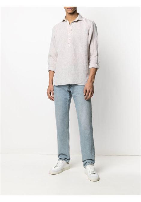 Camicia collo polo in lino sabbia ELEVENTY | Camicie | C75CAMC08-TES0A00102