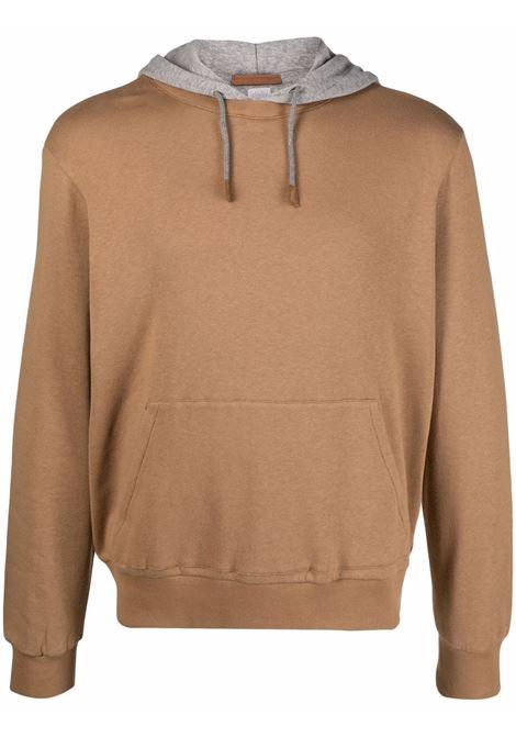 Camel brown cotton two-tone long-sleevel hoodie  ELEVENTY |  | C75FELC01-TES0C17104