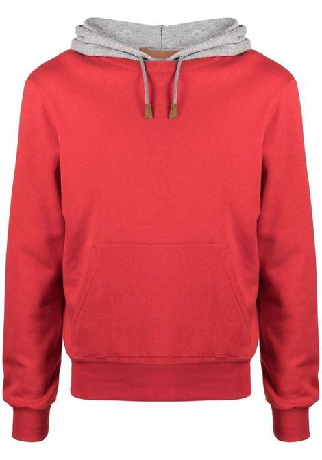 Felpa in cotone rosso con cappuccio a contrasto in cotone ELEVENTY | Felpe | C75FELC01-TES0C17118