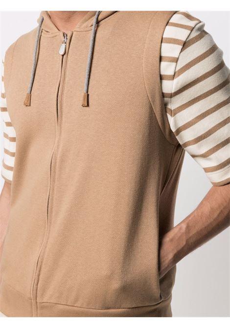 Felpa con cappuccio e zip senza maniche in cotone marrone ELEVENTY | Felpe | C75FELC04-TES0C17104