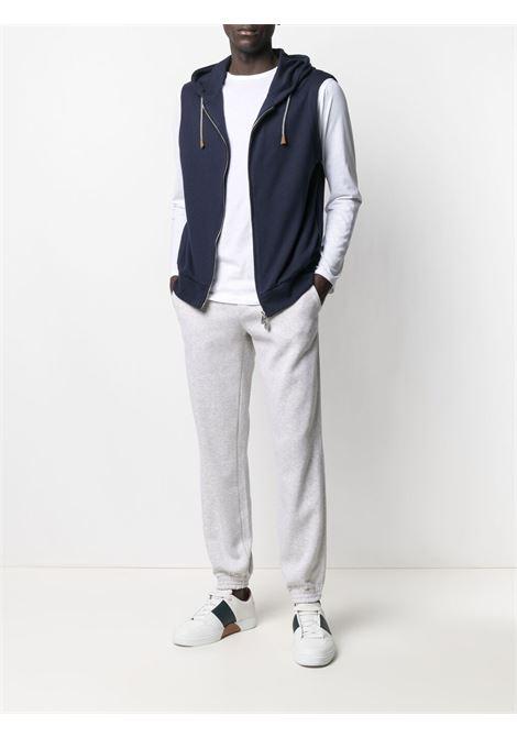 Blue cotton sleeveless zip-up hoodie  ELEVENTY |  | C75FELC04-TES0C17111