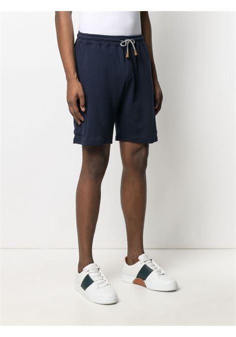 Navy blue cotton drawstring-waist shorts  ELEVENTY |  | C75FELC05-TES0C17111