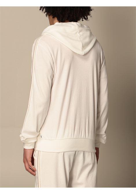 Felpa con cappuccio e zip  in cotone bianco e beige ELEVENTY | Felpe | C75FELC06-TES0C17701