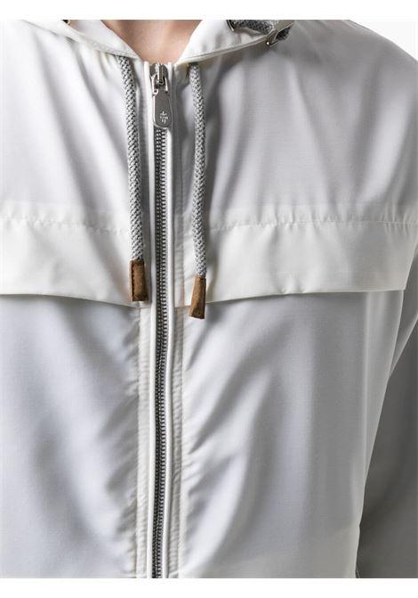 Giacca bianca leggera con zip con cappuccio con coulisse ELEVENTY | Giubbini | C75GBTC01-GBT2700701