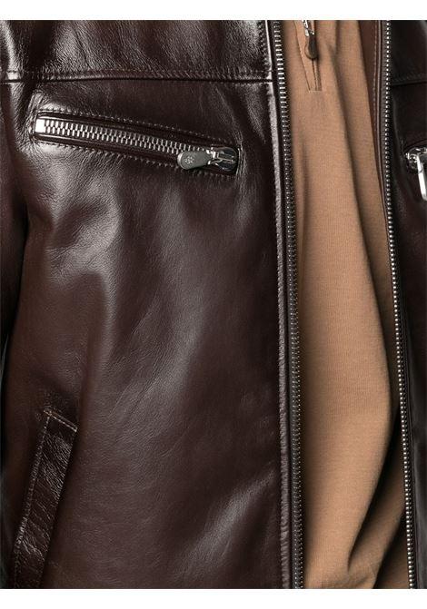 Biker marrone con collo a imbuto in pelle d'agnello ELEVENTY | Giubbini | C75GBTC11-PEL0C01905