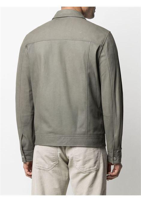 Dust-grey lamb nubuck leather multi-pocket jacket  ELEVENTY |  | C75GBTC12-PEL0C00107