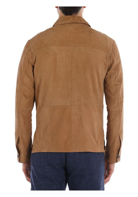 Giacca-camicia in pelle di capra e camoscio marrone ELEVENTY | Giacche | C75GBTC22-PEL0C00803