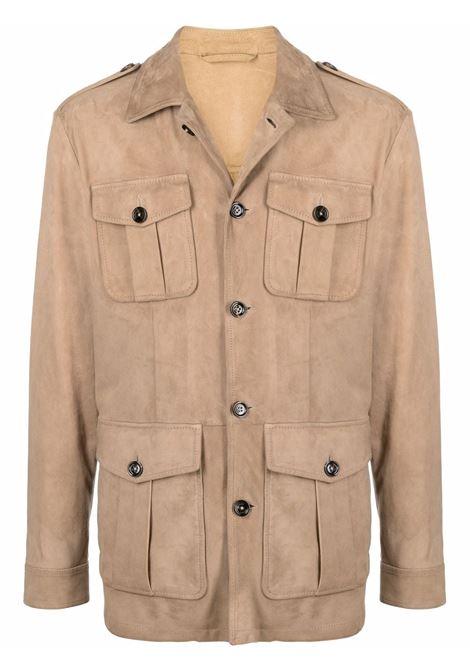 Giacca-camicia multitasche in camoscio marrone ELEVENTY   Giacche   C75GIAC01-PEL0C00402