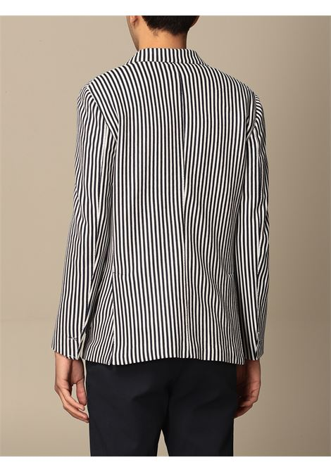 Navy-blue and white cotton single-breasted striped blazer  ELEVENTY |  | C75GIAC12-TES0C08111