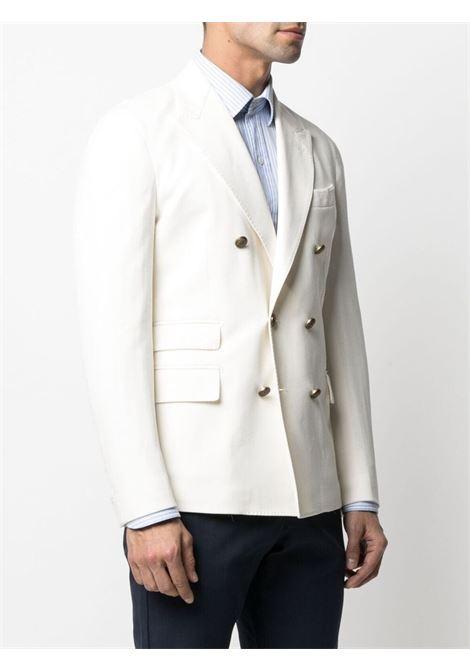 Ivory-white cotton double-breasted blazer  ELEVENTY |  | C75GIAC14-TES0C07401