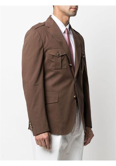 Cinnamon-brown cotton peak-lapels single-breasted suit  ELEVENTY |  | C75GIAC17-TES0C15304