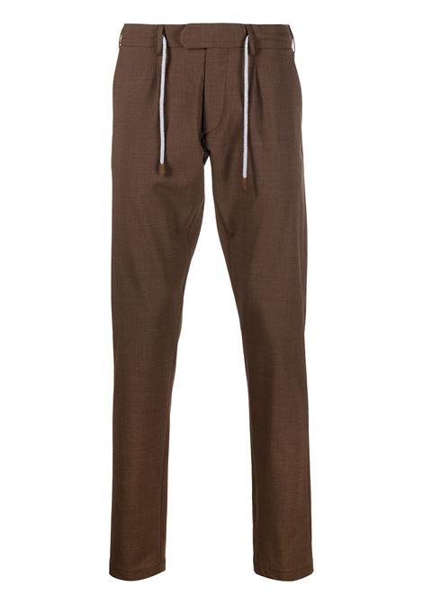 Pantaloni sartoriali marroni in misto lana con coulisse bianche ELEVENTY | Pantaloni | C75PANB21-TES0A05305