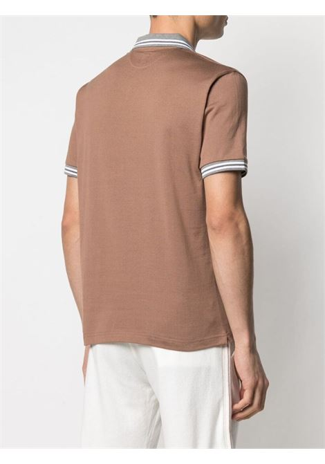 Camel-brown,grey and white cotton short-sleeved polo  ELEVENTY |  | C75POLC01-TES0C17304