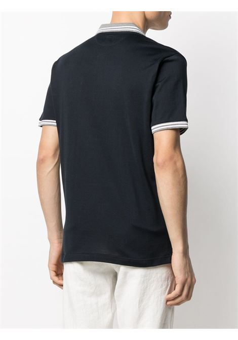 Navy blue,grey and white cotton short-sleeve polo  ELEVENTY |  | C75POLC01-TES0C17311