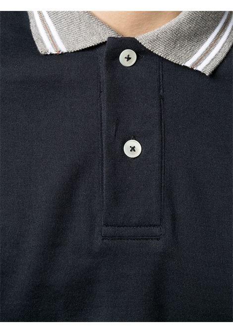 Polo a maniche corte in cotone blu navy, grigio e bianco con dettagli a righe ELEVENTY | Polo | C75POLC01-TES0C17311