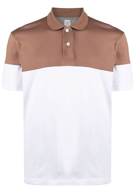 Camel and white cotton colour-block polo  ELEVENTY |  | C75POLC03-TES0C17504-01