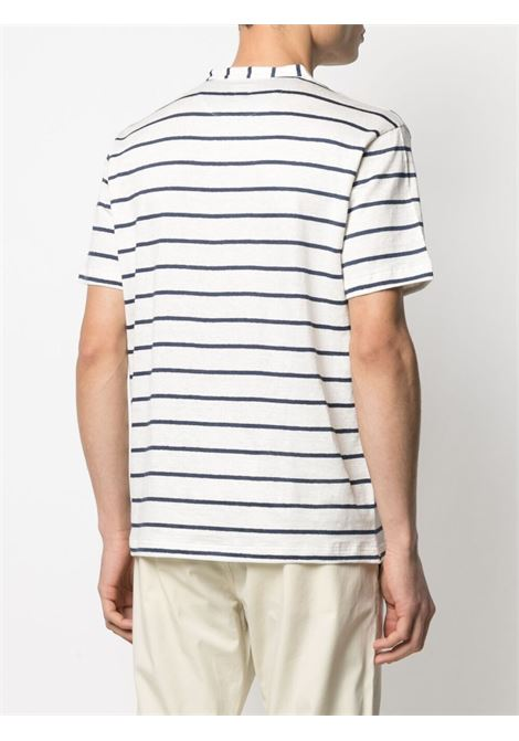 White and admiral-blue stretch-linen striped T-shirt  ELEVENTY |  | C75TSHC01-TES0C11401-11