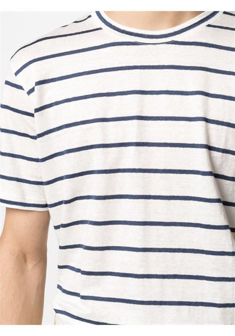 White and navy-blue stretch-linen striped T-shirt  ELEVENTY |  | C75TSHC02-TES0C11401-11