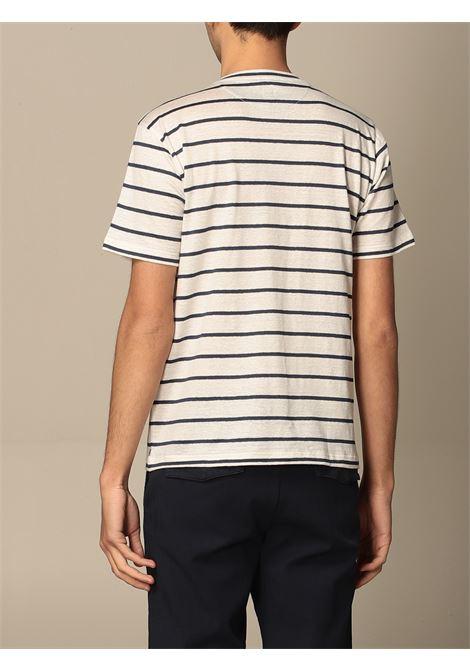 T-shirt a righe in lino elasticizzato bianco e blu navy ELEVENTY | T-shirt | C75TSHC02-TES0C11401-11