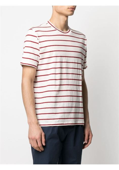 White and red stretch-linen striped linen T-shirt  ELEVENTY |  | C75TSHC02-TES0C11401-18