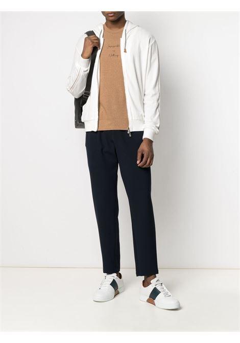 T-shirt in cotone marrone cammello e nero ELEVENTY | T-shirt | C75TSHC06-TES0C16904