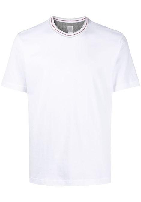 T-shirt girocollo in cotone bianco con colletto a contrasto ELEVENTY | T-shirt | C75TSHC10-TES0C17301N