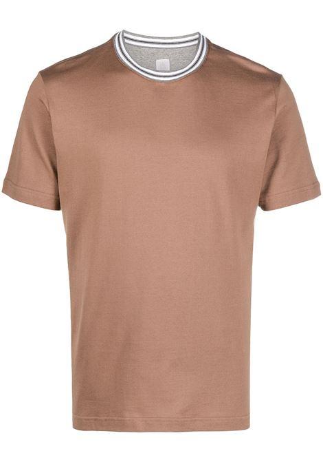T-shirt in cotone color cammello con colletto grigio a contrasto ELEVENTY | T-shirt | C75TSHC10-TES0C17304