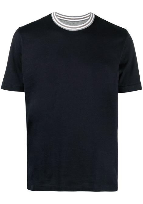 T-shirt in cotone blu con girocollo bianco ELEVENTY | T-shirt | C75TSHC10-TES0C17311