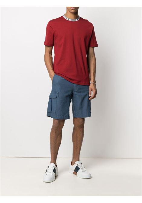 T-shirt rossa in cotone con colletto a contrasto bianco ELEVENTY | T-shirt | C75TSHC10-TES0C17318N