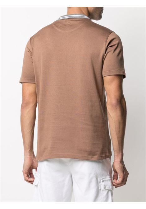 T-shirt in cotone marrone con colletto a contrasto ELEVENTY | T-shirt | C75TSHC12-TES0C17304