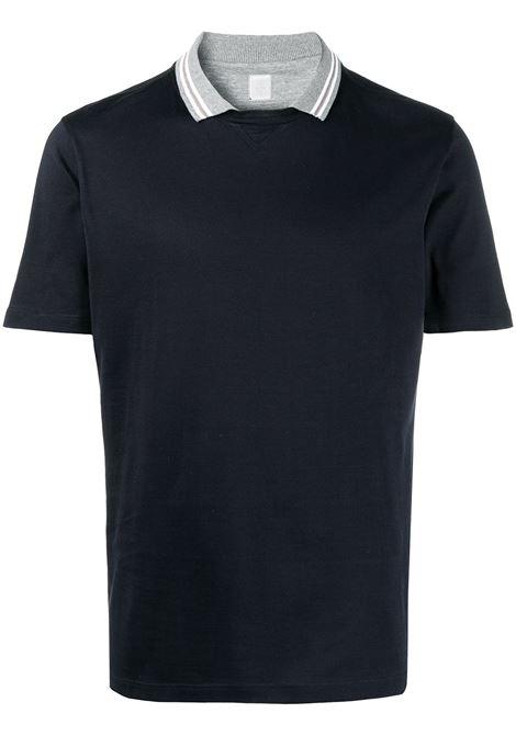 T-shirt in cotone blu navy con colletto polo grigio ELEVENTY | T-shirt | C75TSHC12-TES0C17311