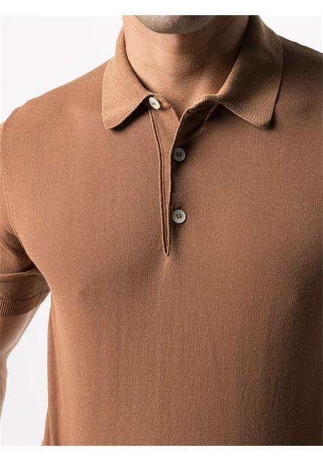 Polo in cotone a maniche corte color cammello con abbottonatura frontale ELEVENTY | Maglieria | C76MAGC14-MAT0A00104N