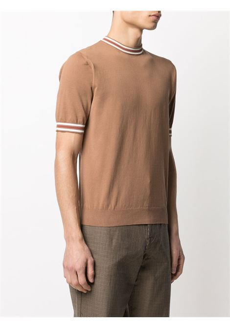 Camel brown cotton contrast-trim short-sleeve sweater featuring ribbed-knit edge ELEVENTY |  | C76MAGC20-MAG0C01104