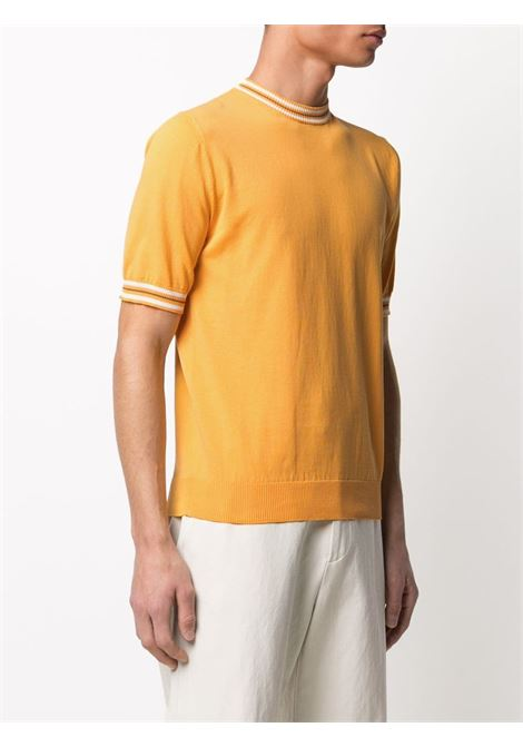 Banana yellow cotton short-sleeve contrast-trim sweater  ELEVENTY |  | C76MAGC20-MAG0C01128