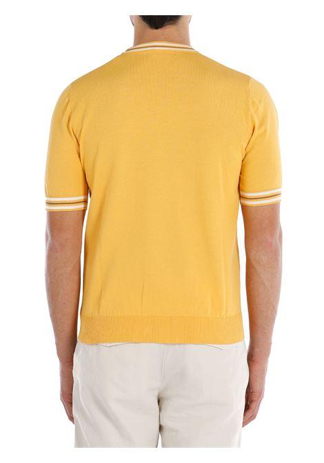 Maglione a maniche corte in cotone giallo banana con bordi a contrasto ELEVENTY   Maglieria   C76MAGC20-MAG0C01128