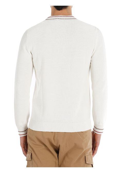 Maglione lavorato a maglia in cotone bianco con finiture a contrasto ELEVENTY | Maglieria | C76MAGC28-MAG0C01301