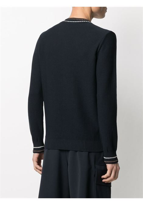 Navy blue cotton contrast-trim knitted jumper  ELEVENTY |  | C76MAGC28-MAG0C01311