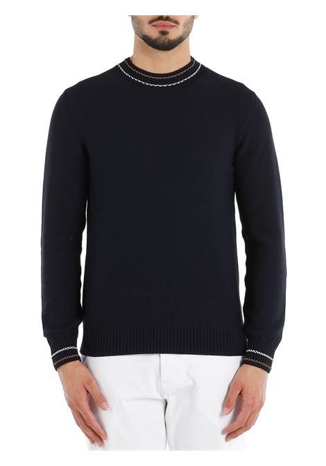 Maglione in maglia di cotone blu navy con finiture a contrasto ELEVENTY | Maglieria | C76MAGC28-MAG0C01311