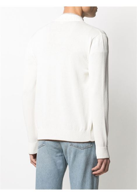 Cardigan in cotone bianco con colletto alla coreana  con finiture a contrasto ELEVENTY | Cardigan | C76MAGC30-MAG0A00101