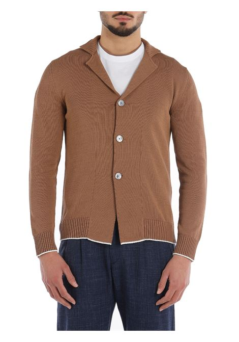 Camel brown cotton stand-up collar cardigan from featuring contrasting trim ELEVENTY |  | C76MAGC30-MAG0A00104