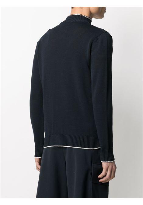 Cardigan blu navy in cotone con colletto alla coreana ELEVENTY | Cardigan | C76MAGC30-MAG0A00111