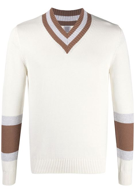 White and brown cotton V-neck jumper ELEVENTY |  | C76MAGC33-MAG0C01601