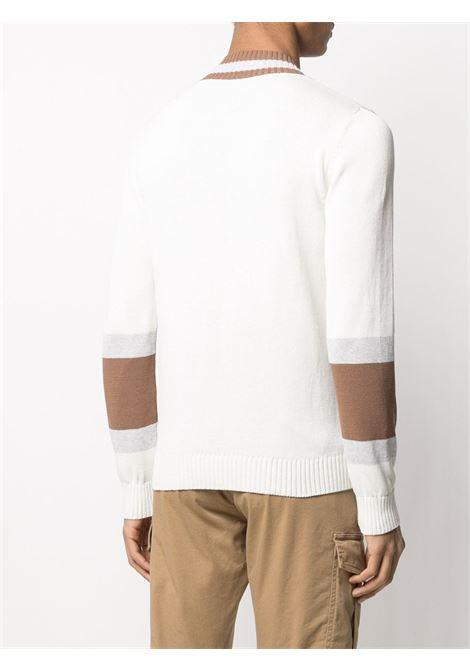 Maglione con scollo a V in cotone bianco e marrone ELEVENTY   Maglieria   C76MAGC33-MAG0C01601