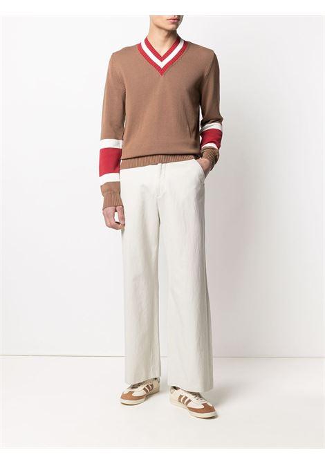 Camel brown cotton red striped v-neck knitted jumper  ELEVENTY |  | C76MAGC33-MAG0C01604