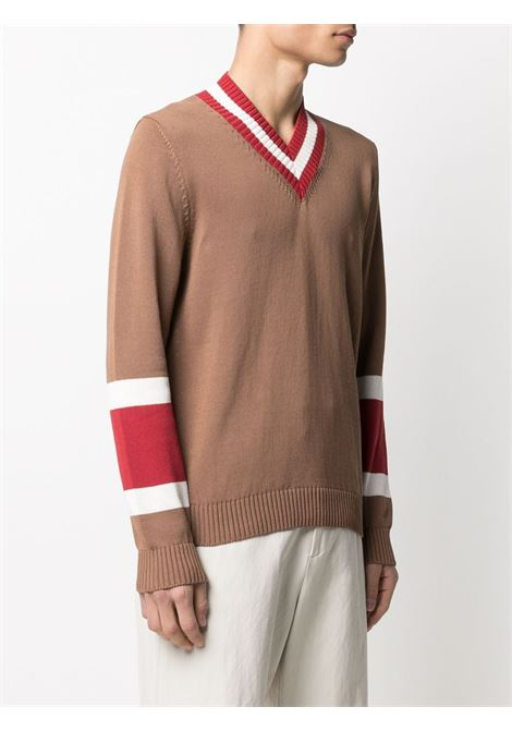 Camel brown cotton red striped v-neck knitted jumper  ELEVENTY |  | C76MAGC33-MAG0C01604