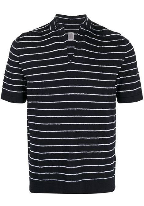 Navy blue cotton striped v-neck sweater featuring horizontal stripe pattern ELEVENTY |  | C76MAGC50-MAG0C05211