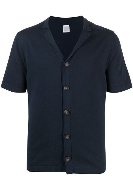 Dark blue cotton knitted shirt featuring cutaway collar ELEVENTY |  | C76MAGC51-MAG0C05211