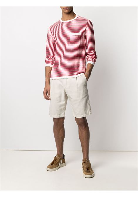 T-shirt rossa e bianca in lino e cotone stampata a righe con tasca a filetto sul petto ELEVENTY | T-shirt | C76MAGC52-MAG0C05301-18