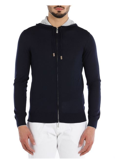 Felpa blu navy in lana con cappuccio grigio ELEVENTY | Cardigan | C76MAGC72-MAG2400311